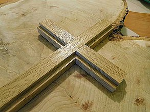 Dekorácie - svadobný drevený kríž dubový / krížik - 7126891_