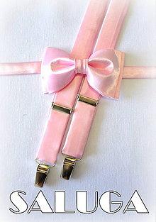 Doplnky - Motýlik + traky ružový, ružové pánske, možnosť aj pre syna - 7127657_