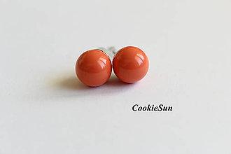 Náušnice - Napichovačky Swarovski Pearls Orange Coral Rh - 7129062_