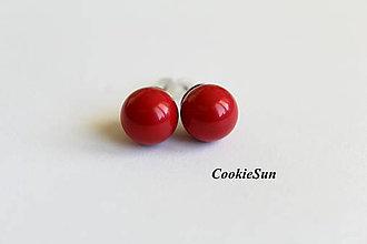 Náušnice - Napichovačky Swarovski Pearls Red Coral Rh - 7129064_