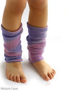 Detské doplnky - Pletené štucne z ručne farbenej merino vlny - 7133584_