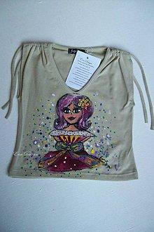 Detské oblečenie - detské tričko ručne maľované - Lady Lambada šedé - 7131607_