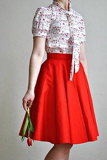 Sukne - Červená kolová sukně - 7130891_