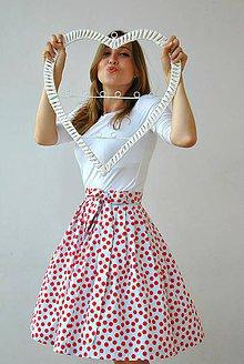 Sukne - Zavinovací sukně Červenobílé puntíky! - 7131070_