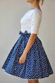 Sukne - Zavinovací sukně Modrobílé puntíky! - 7131080_