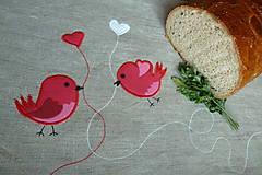 - Ľanový chlebník s červenými vtáčikmi - 7132668_