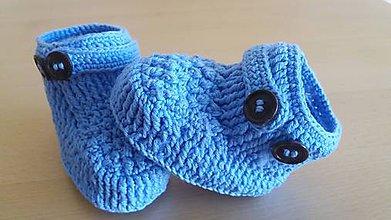 Topánočky - Hačkované  papučky - 7132574_