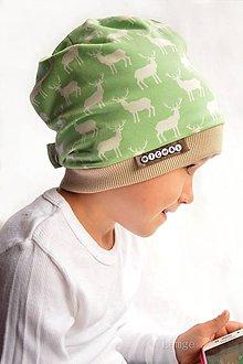 Detské čiapky - Bavlnená čiapka s menom- jelene Mild green & coffee - 7133449_