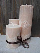 Svietidlá a sviečky - sada palmových sviečok / medovohnedé - 7133451_