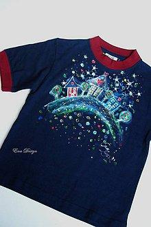 Detské oblečenie - detské tričko ručne maľované - nočná ulica - 7134984_