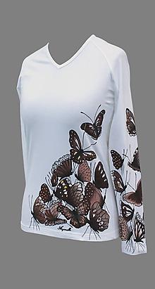 Tričká - Tričko s hnedými motýľmi - Motýlí žúr - 7136789_