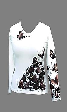 Tričká - Tričko s hnedými motýľmi - Motýlí žúr I. - 7137013_