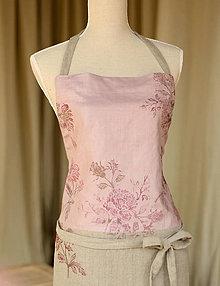 Úžitkový textil - Romantika a ruže v kuchyni - ručne potlačená ľanová zástera pre romantické gazdinky - 7134722_