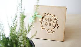 - Drevena svadobná kniha hostí (300g 50listov) - 7135643_