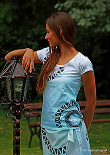 Tričká - Dámske tričko batikované, maľované, etno FREYJA - 7135472_