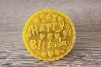 Magnetky - Magnetka zo 100% včelieho vosku - Happy birthday - 7136309_