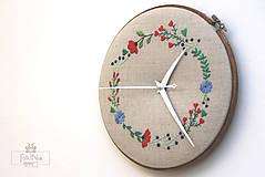 Hodiny - Ľúbosti, ručne vyšívané nástenné hodiny - 7136692_