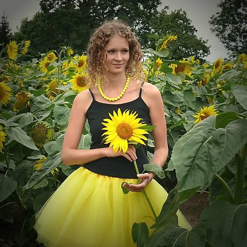 Žltá tylová sukňa