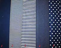 Textil - Bavlněná látka - kombinace tmavě modrá - 7135730_