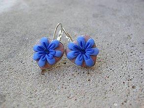 Náušnice - Ozdobné srdiečka (Milujem modré kvietky č.1517) - 7136256_