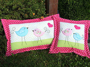 Textil - Vankúšiky s vtáčikmi - 7134112_