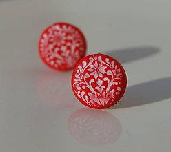 Náušnice - Folk krúžky červené - 7136018_
