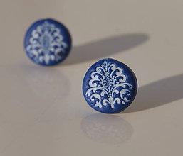 Náušnice - Folk krúžky modré - 7136043_