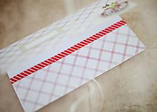 Papiernictvo - Scrapbook obálka na peniaze - bieločervená - 7140240_