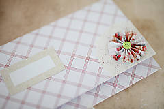 Papiernictvo - Scrapbook obálka na peniaze - bieločervená - 7140241_