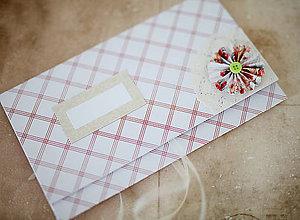 Papiernictvo - Scrapbook obálka na peniaze - bieločervená - 7140242_
