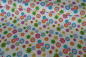 Textil - Látka Farebné kvietky na režnej - 7139795_