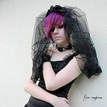 Ozdoby do vlasov - Čierny gotický závoj - 7137507_