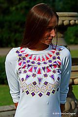 - Dámske mini šaty maľované, etno, folk LADA  - 7138898_