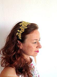 Ozdoby do vlasov - čipková čelenka zlatá - 7141055_