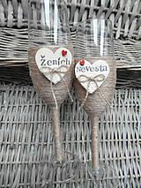 Nádoby - Svadobné poháre Nevesta a Ženích - 7140828_