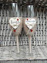 Nádoby - Svadobné poháre Nevesta a Ženích - 7140831_