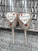 Nádoby - Svadobné poháre Nevesta a Ženích - 7140833_