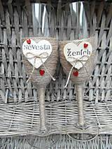 Nádoby - Svadobné poháre Nevesta a Ženích - 7140834_