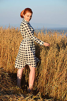 Šaty - Kockované košeľové šaty - 7139695_