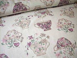 Textil - Poťahová metráž - hrnčeky s kvety - 7140082_
