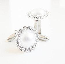 Šperky - Biela svadba so štrasom a perleťou - manžetové gombíky - 7140984_