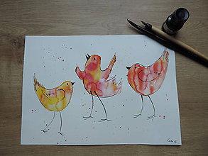 Kresby - Orandžové vtáčatká - 7139716_