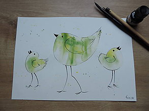 Kresby - Zelené vtáčence - 7139718_