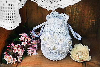 Taštičky - Mini kabelka svadobná biela - 7138076_