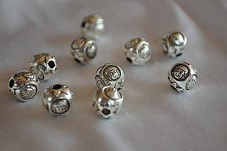 Korálky - Kovová korálka budha starostriebro 10mm, 0.45€/ks - 7138159_