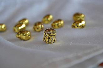 Korálky - Kovová korálka starozlato budha 10mm, 0.45€/ks - 7138177_