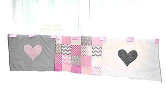 Úžitkový textil - Zástena, mantinel 50x200cm Minky srdiečka LOVE kolekcia - 7143682_