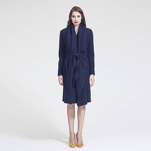 Kabáty - f/w 2016 - Vlněný kabát s šálovým límcem (Tmavě modrý melír) - 7142734_