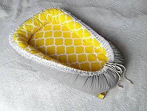 Textil - Hniezdo pre babätká - žlto sivé s čipkou - 7142293_