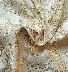 Textil - Brokát Kašmír- smetanovo - zlatý - 7142342_